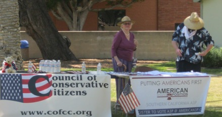 "Council of Conservative Citizens tabling next to the American Freedom Party, a neo-fascist ""third positionist"" political party advocating white nationalism."