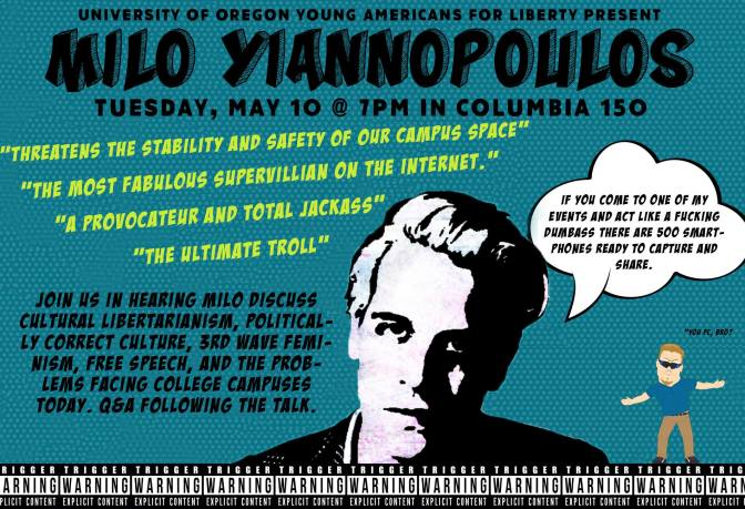 Alt Right Writer Milo Yiannopoulos Speaking at University of Oregon
