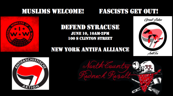 "Syracuse, NY: New York AntiFa Alliance's Statement on the so-called ""March Against Sharia"""